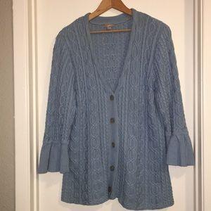 J. Jill blue knitted button cardigan sweater sz L